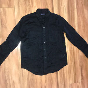 Gap Black 100 Linen Womens Long Sleeve Button Up
